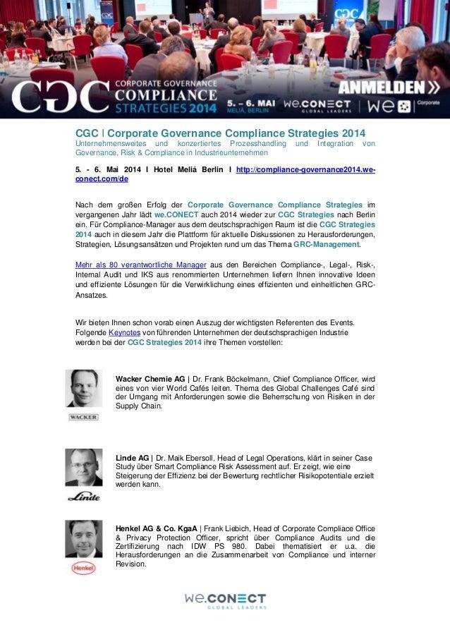 CGC I Corporate Governance Compliance Strategies 2014 Unternehmensweites und konzertiertes Prozesshandling Governance, Ris...