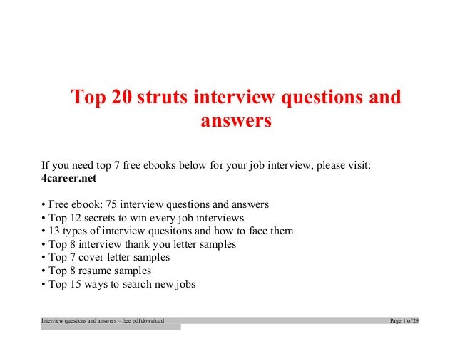 Struts Interview Questions And Answers For Experienced Pdf