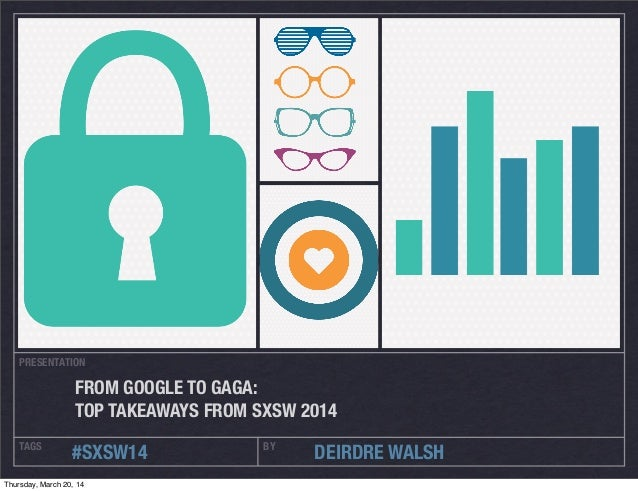 PRESENTATION TAGS BY #SXSW14 DEIRDRE WALSH FROM GOOGLE TO GAGA: TOP TAKEAWAYS FROM SXSW 2014 Thursday, March 20, 14