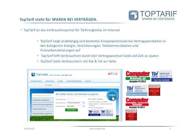 Toptarif.de Unternehmenspräsentation 2013 Slide 2