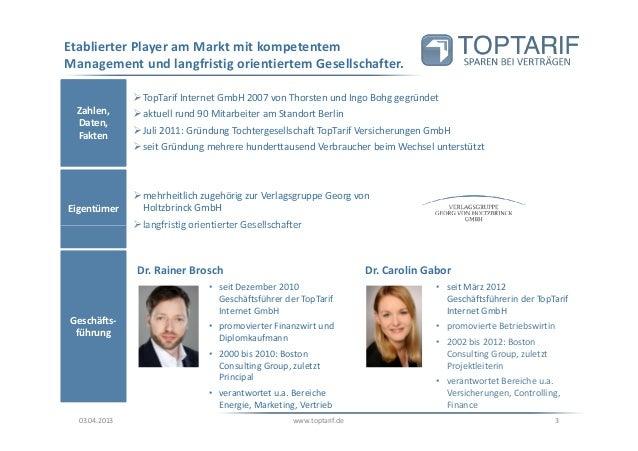 Toptarif.de Unternehmenspräsentation 2013 Slide 3