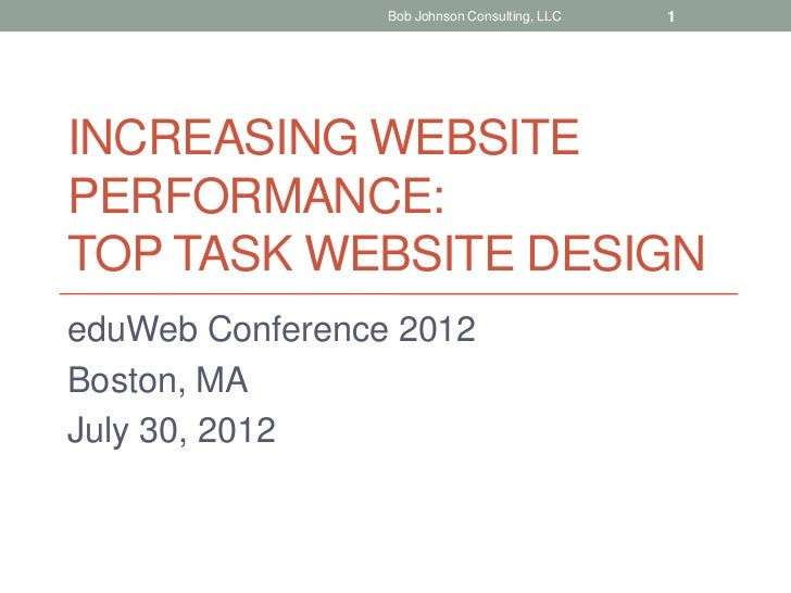 Bob Johnson Consulting, LLC   1INCREASING WEBSITEPERFORMANCE:TOP TASK WEBSITE DESIGNeduWeb Conference 2012Boston, MAJuly 3...
