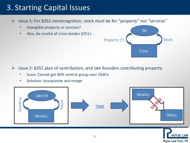 """ Issue 1: For §351 nonrecognition, stock must be for """"property"""" not """"services"""" • Intangible property or services? • Also,..."""