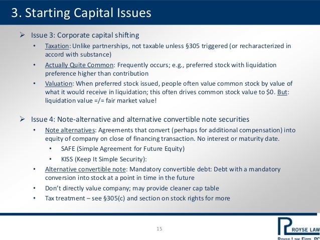  Issue 3: Corporate capital shifting • Taxation: Unlike partnerships, not taxable unless §305 triggered (or recharacteriz...