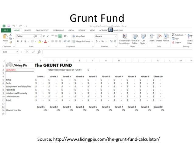 Grunt Fund Source: http://www.slicingpie.com/the-grunt-fund-calculator/