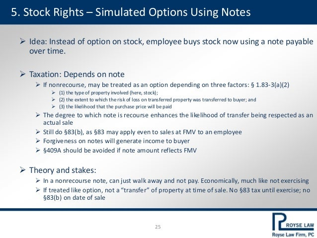 5. Stock Rights – Simulated Options Using Notes  Idea: Instead of option on stock, employee buys stock now using a note p...