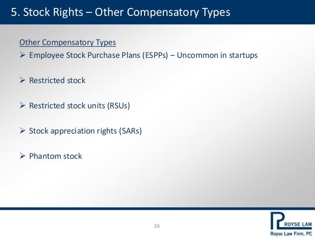 5. Stock Rights – Other Compensatory Types Other Compensatory Types  Employee Stock Purchase Plans (ESPPs) – Uncommon in ...