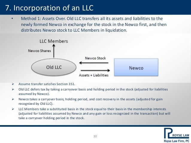 • Method 1: Assets Over. Old LLC transfers all its assets and liabilities to the newly formed Newco in exchange for the st...