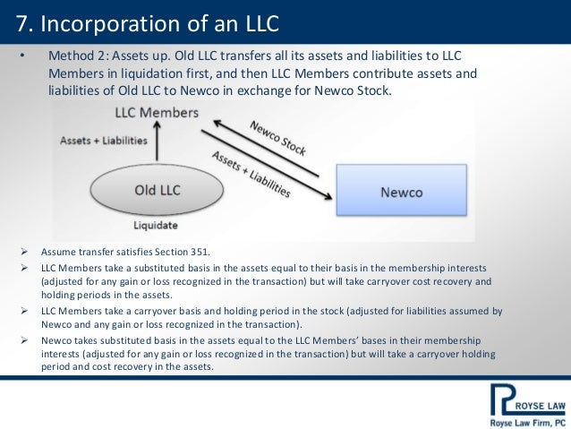 • Method 2: Assets up. Old LLC transfers all its assets and liabilities to LLC Members in liquidation first, and then LLC ...