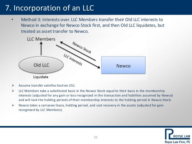 • Method 3: Interests over. LLC Members transfer their Old LLC interests to Newco in exchange for Newco Stock first, and t...