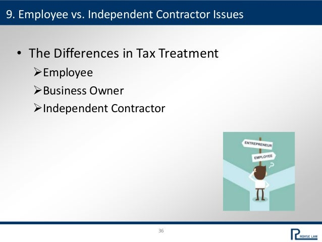 36 • The Differences in Tax Treatment Employee Business Owner Independent Contractor 9. Employee vs. Independent Contra...
