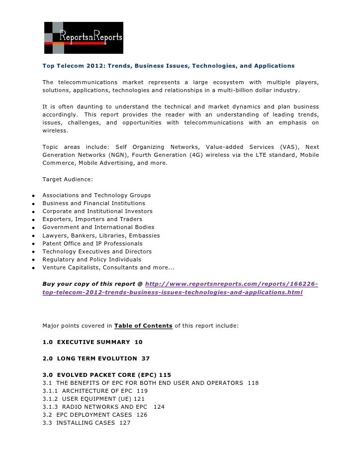 Top Telecom 2012: Trends, Business Issues, Technologies, and ApplicationsThe telecommunications market represents a large ...