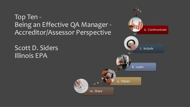 Top Ten - Being an Effective QA Manager - Accreditor/Assessor Perspective Scott D. Siders Illinois EPA 10. Share 9. Obtain...