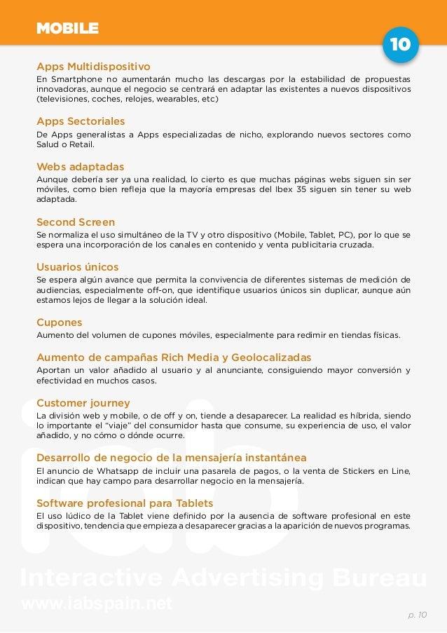 www.iabspain.net 10 p. 10 MOBILE Apps Multidispositivo En Smartphone no aumentarán mucho las descargas por la estabilidad ...