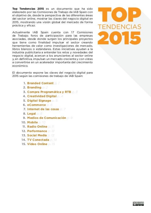 www.iabspain.net 2 p. 2 Top Tendencias 2015 es un documento que ha sido elaborado por las Comisiones de Trabajo de IAB Spa...