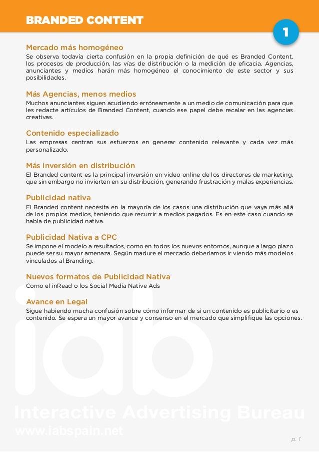 www.iabspain.net 1 p. 1 BRANDED CONTENT Mercado más homogéneo Se observa todavía cierta confusión en la propia definición ...