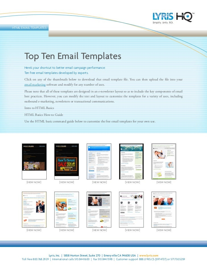 HTML EMAIL TEMPLATES            Top Ten Email Templates        Here's your shortcut to better email campaign performance: ...