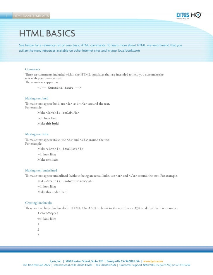 Top Ten Email Templates Lyris - Basic html email template