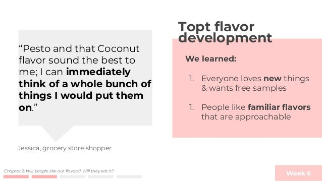 Week 6Chapter 2: Will people like our flavors? Will they eat it? MVP 3 - Munger housing free samples First time Topt makes...