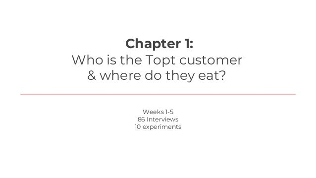 We started Week 1Chapter 1: Who is the Topt customer & where do they eat? We learned: 1. 95% of people identify as chefs 1...