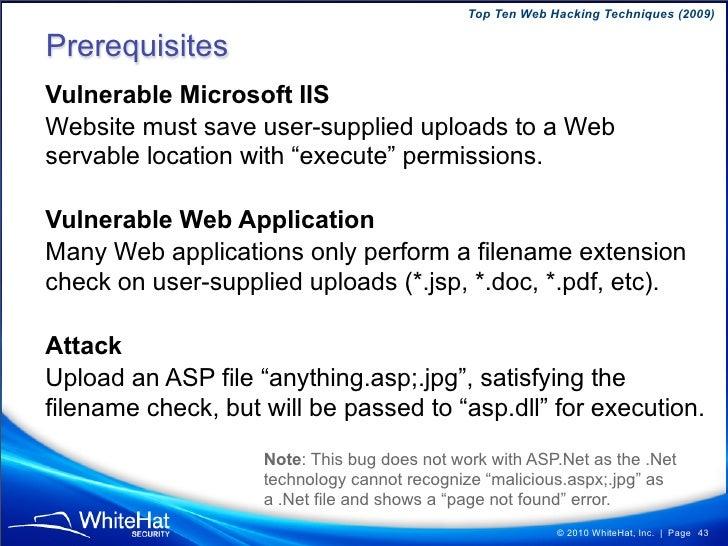 Top Ten Web Hacking Techniques (2009)                  © 2010 WhiteHat, Inc.   Page 43