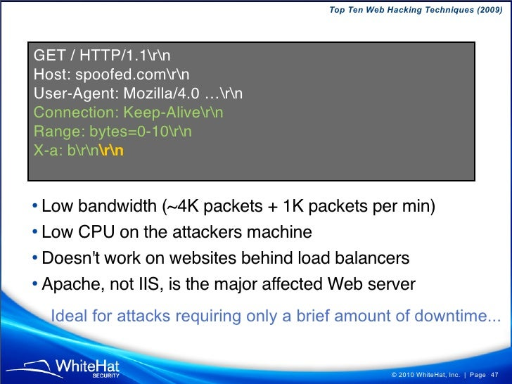 Top Ten Web Hacking Techniques (2009)   Example Use-Case  WebMail Inbox Search: Ask a yes or no question from the user's i...