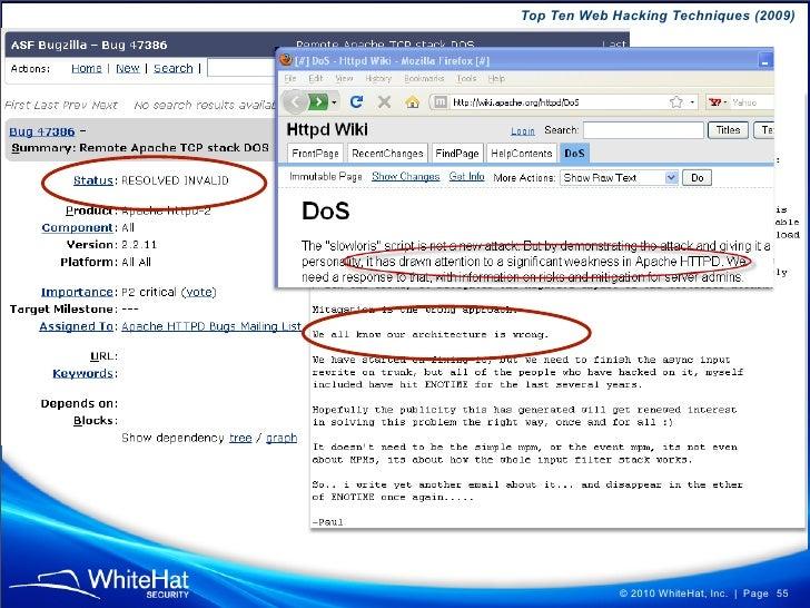 Top Ten Web Hacking Techniques (2009)                  © 2010 WhiteHat, Inc.   Page 55