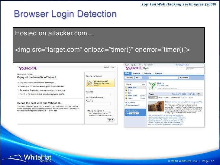 Top Ten Web Hacking Techniques (2009)  Simple parameter injection example void private executeBackendRequest(HTTPRequest r...