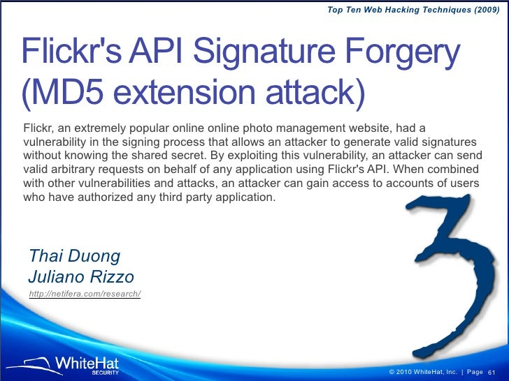Top Ten Web Hacking Techniques (2009)  CSRF Bypassed 'cmd' parameter used to execute specific action, specifically emptyin...