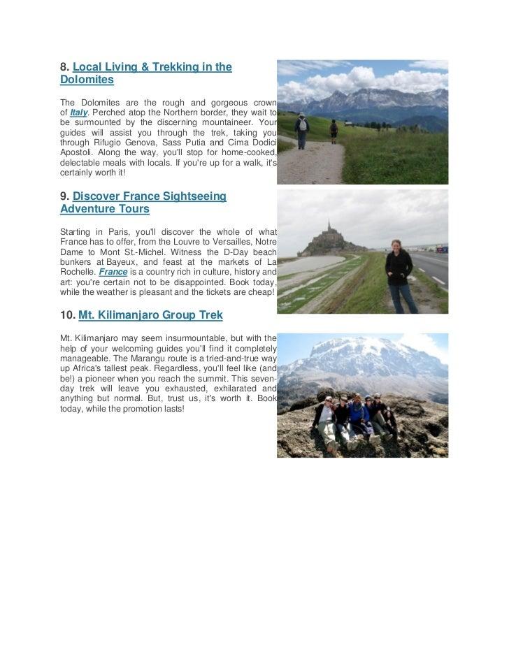 Top ten international summer adventure travel deals Slide 3