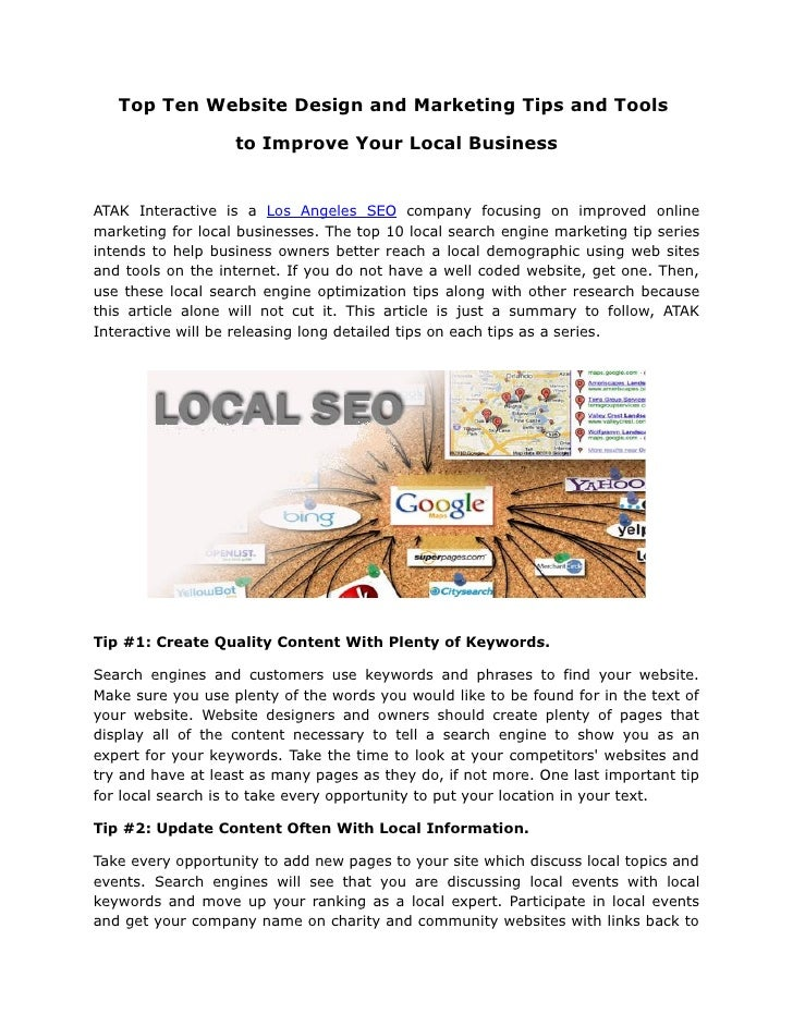 Top Ten Website Design and Marketing Tips and Tools                     to Improve Your Local Business   ATAK Interactive ...