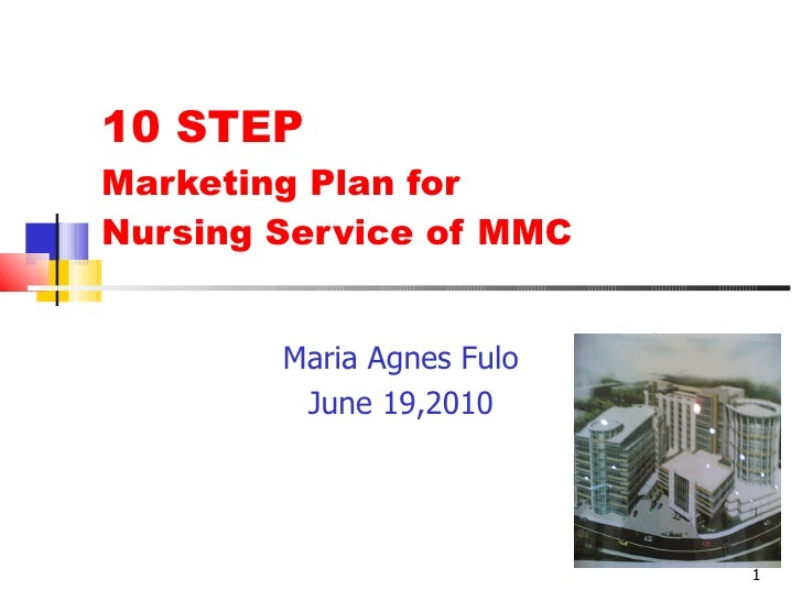 10 STEP  Marketing Plan for  Nursing Service of MMC Maria Agnes Fulo June 19,2010 Product  Photo here