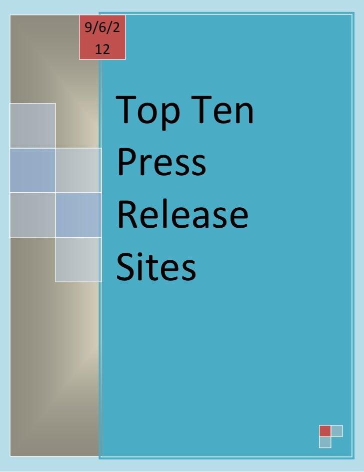 9/6/2 12    Top Ten    Press    Release    Sites