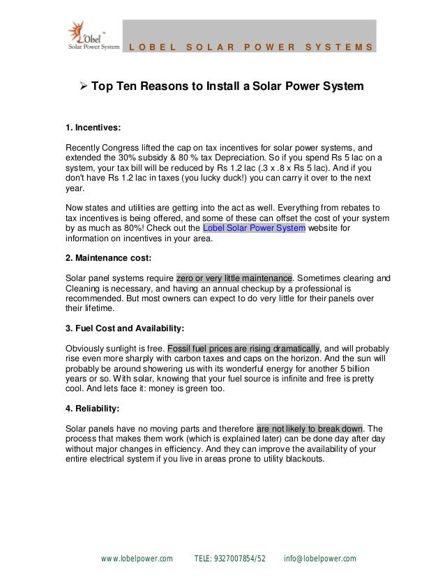 Top ten reasons to install a solar power system