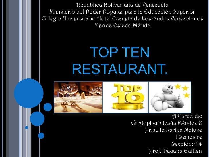República Bolivariana de Venezuela   Ministerio del Poder Popular para la Educación SuperiorColegio Universitario Hotel Es...