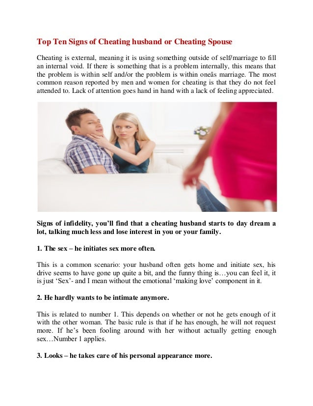 Signs of women cheating on their husbands