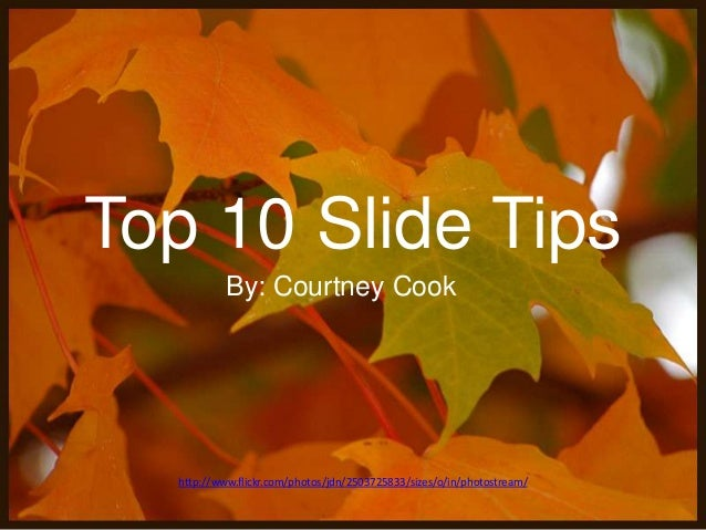 Top 10 Slide Tips By: Courtney Cook  http://www.flickr.com/photos/jdn/2503725833/sizes/o/in/photostream/
