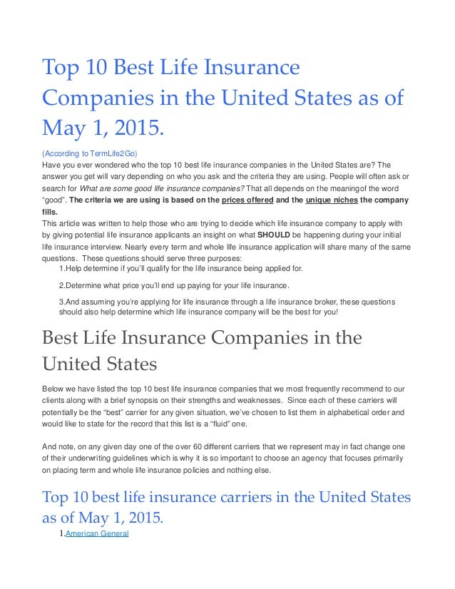 Top Ten Life Insurance Companies >> Top Ten Term Life Insurance Companies