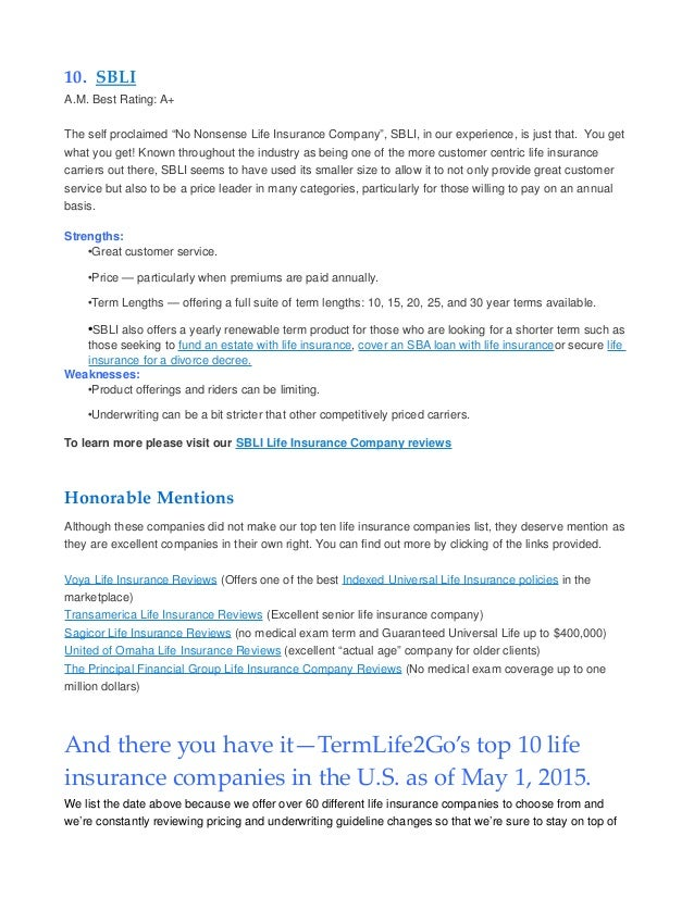 Top Ten Life Insurance Companies >> Top Ten Term Life Insurance Companies