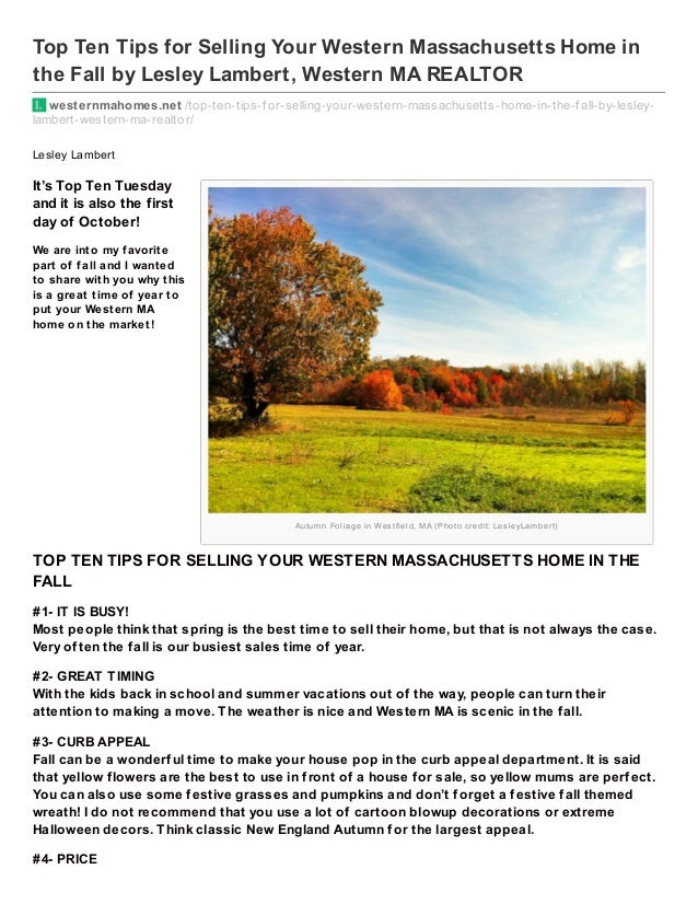 Autum n Foliage in Wes tfield, MA (Photo credit: Les leyLam bert) Top Ten Tips for Selling Your Western Massachusetts Home...