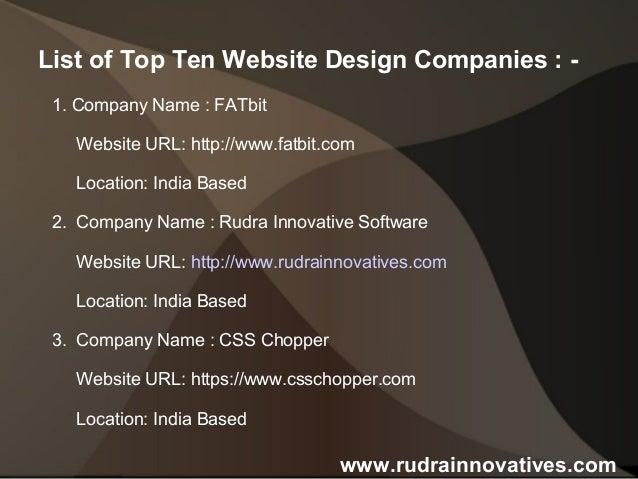 Top Ten Website Design Companies in World