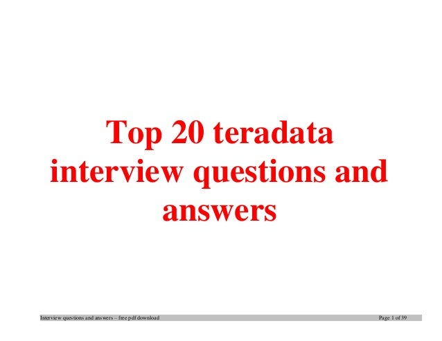 Top 350+ Teradata Interview Questions And Answers 2019