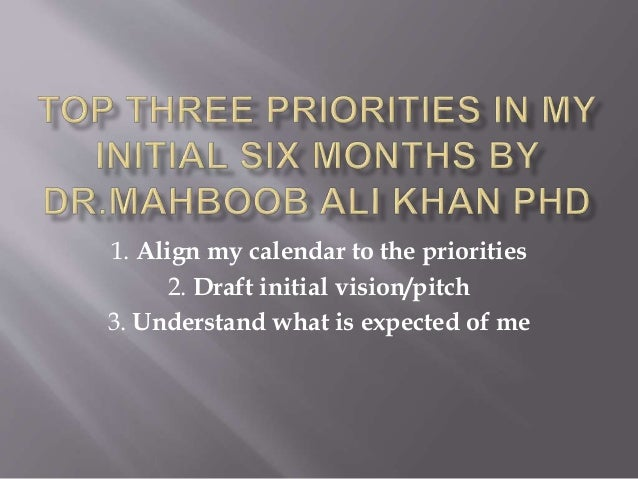 1. Align my calendar to the priorities 2. Draft initial vision/pitch 3. Understand what is expected of me