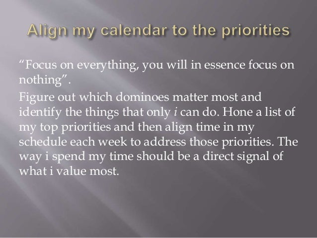 my top three priorities in life When i consider these priorities while making decisions about how to allocate time and energy, i keep my life in order, in perspective if there are questions about which is more important, a business appointment or a family event, it's clear, the family takes priority.