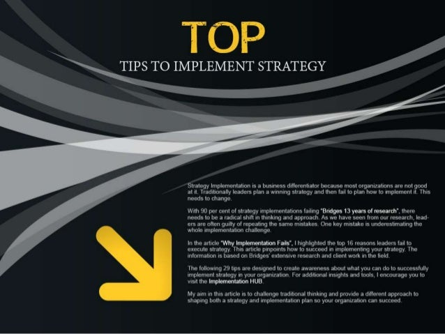 Top tips to implement strategy