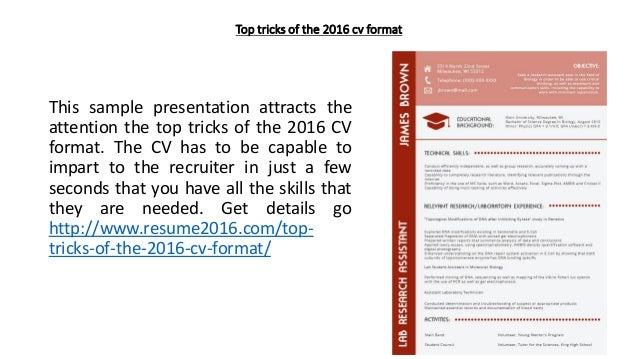top tricks of the 2016 cv format