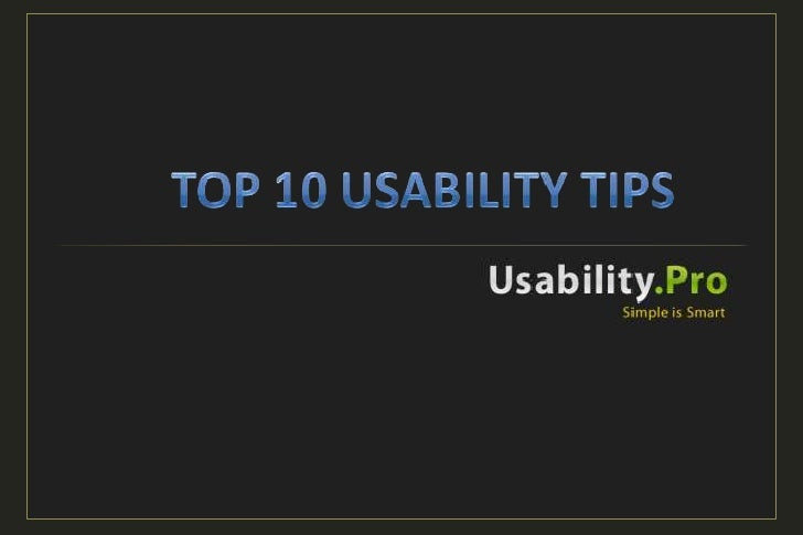 Top 10 Usability Tips<br />