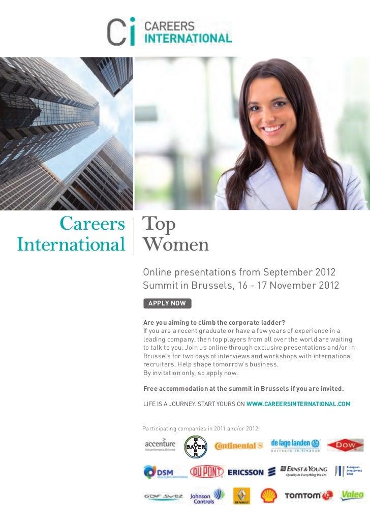 Careers TopInternational Women            Online presentations from September 2012            Summit in Brussels, 16 - 17 ...