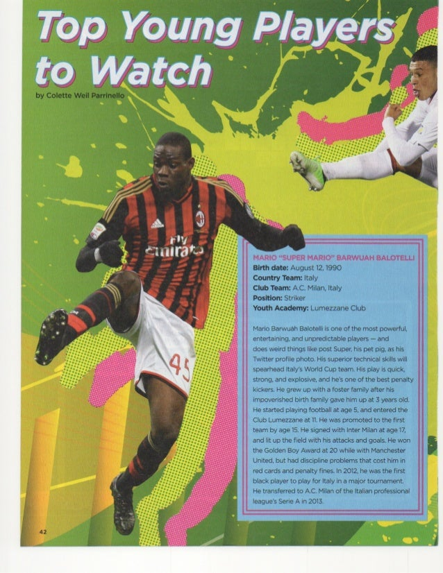 Top Young Players to Watch by Colette Weil Parrinello from Faces Issue Soccer in the Spotlight 2014 Cricket Media Publishe...