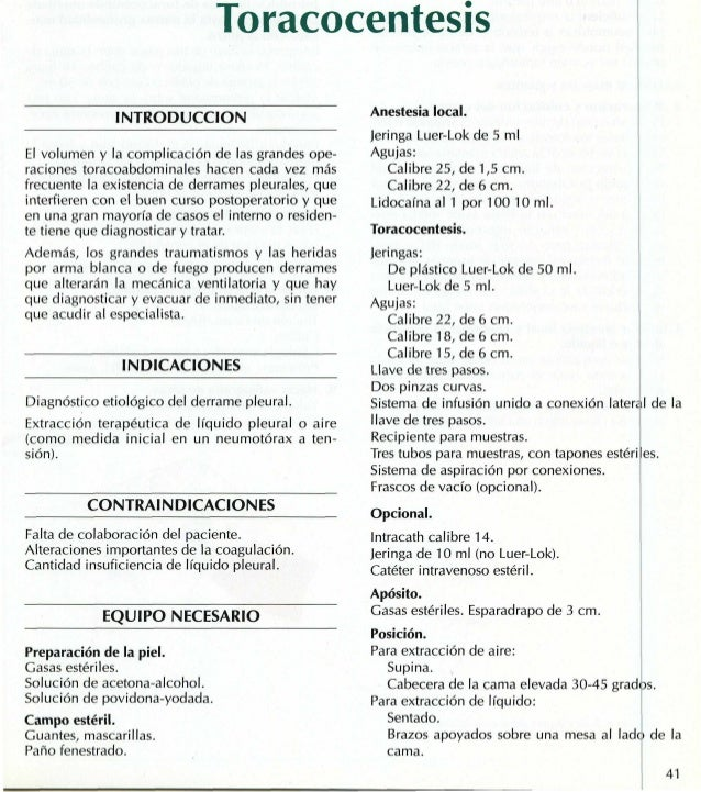 Toracocentesis               INTRODUCCION                          Anestesia local.                                       ...